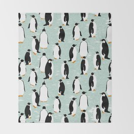 Penguins go with the floe Throw Blanket