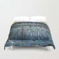 door Duvet Covers featuring Blue door by Maria Heyens