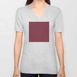 Red (Rouge) Magenta Tres Petit Geometric Pattern Unisex V-Neck