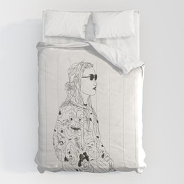 girl with record plastic bag Comforters