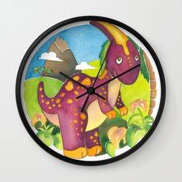 Parasaurolophus, dinosaur, By Heidi Nickerson Wall Clock