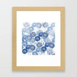 blue indigo dandelion pattern watercolor Framed Art Print
