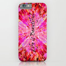LIFE IS BEAUTIFUL Bold Pink Bird Feathers Ocean Waves Painting Sea Romantic Love Girlie Abstract Slim Case iPhone 6