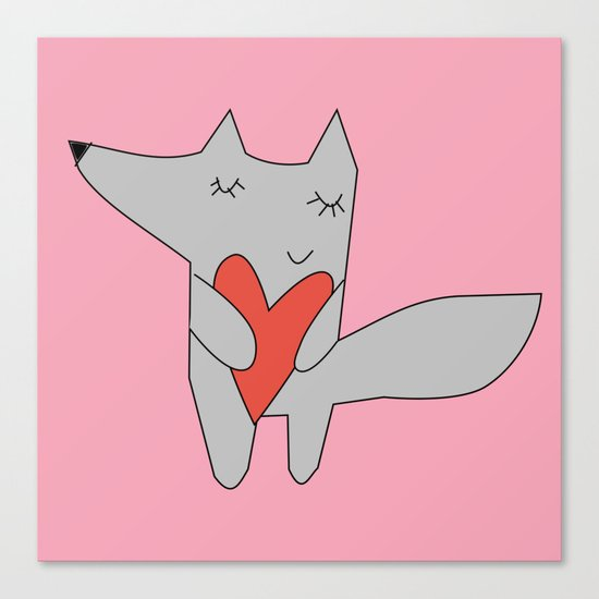 Fox in love pink Canvas Print