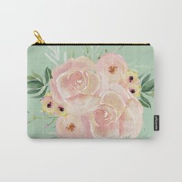 Wild Roses on Pastel Cactus Green Carry-All Pouch