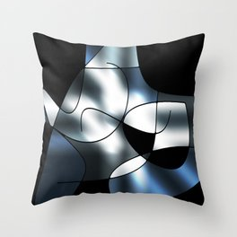 ABSTRACT CURVES #1 (Black, Grays & White) Throw Pillow