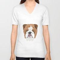 english bulldog V-neck T-shirts featuring English bulldog by Hedera