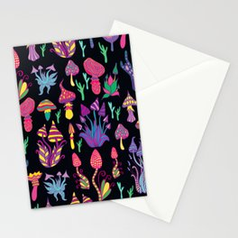 Mushroom Pattern Design Retro Psychedelic Stationery Cards