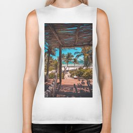 Cabana view of the Beach (Color) Biker Tank