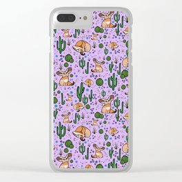 Cute Cactus and Fennec Fox Clear iPhone Case