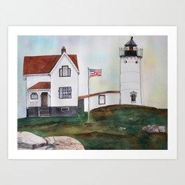 Nubble Lighthouse Watercolor Art Art Print