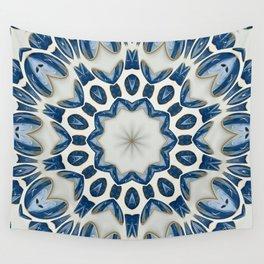 Snowblue Clock Mandala Wall Tapestry