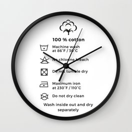 100% Cotton | Laundry Label Wall Clock