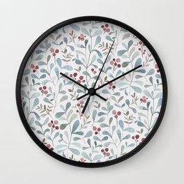 Winter flora - watercolor red berries and mistletoe leaves Wall Clock