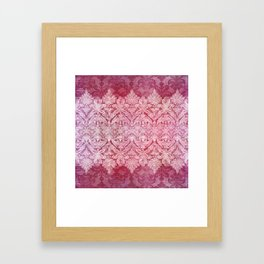 ABERDEEN HEIRLOOM, LACE & DAMASK: REBECCA'S RED Framed Art Print