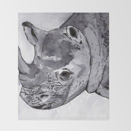 Rhino - Animal Series in Ink Throw Blanket