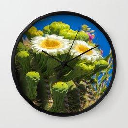 Saguaro Flower Power Wall Clock