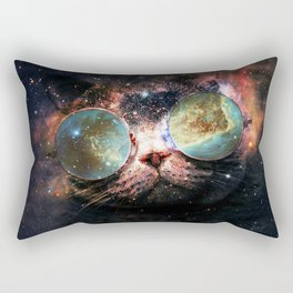 Cool Space Cat with Telescope Glasses in space Rectangular Pillow