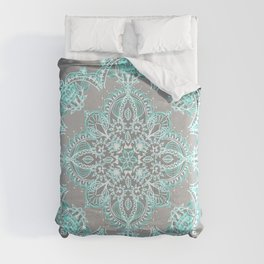 Teal and Aqua Lace Mandala on Grey Comforters