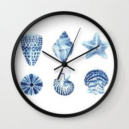 Watercolor seashell print Wall Clock