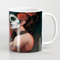 dia de los muertos Mugs featuring Dia de los Muertos by Giorgio Baroni