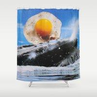 weird Shower Curtains featuring Weird Egg by John Turck