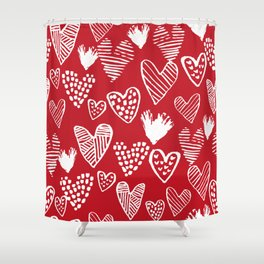 Herats red and white pattern minimal valentines day cute girly gifts hand drawn love patterns Shower Curtain