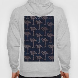 Tropical rose gold geometric flamingo pattern on navy blue watercolor Hoody
