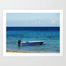 Blue boat red stripe in ocean water color photography Art Print