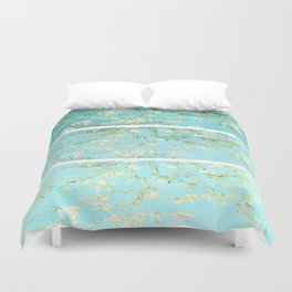 Vincent Van Gogh Almond Blossoms  Panel arT Aqua Seafoam Duvet Cover