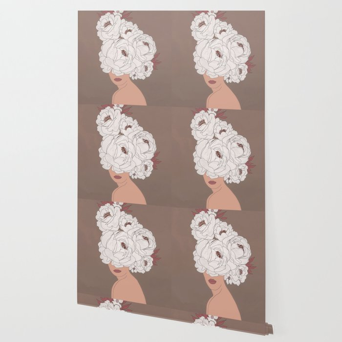 Woman with Peonies Wallpaper