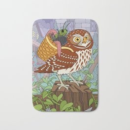 Little Owl with Packed Basket Bath Mat