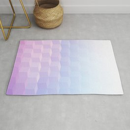Pastel Cube Pattern Ombre 1 - pink, blue and vi Rug