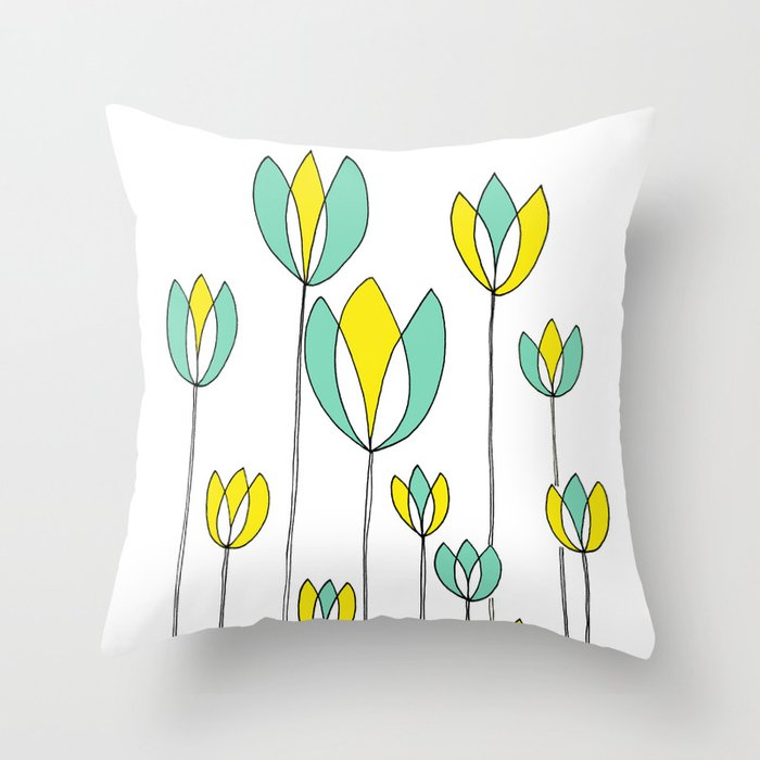 Drawing of Teal and Yellow Happy Tulips by Emma Freeman Designs Throw Pillow