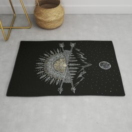 Moon and Stars Night Sky Mountain Range Arrow Mandala With Star Background Rug