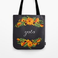 wwe Tote Bags featuring Yolo by eARTh