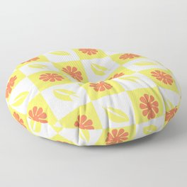 Yellow flowers and leaves pattern Floor Pillow