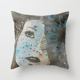 Lack Of Interest: (graffiti dark lady with daisies) Throw Pillow