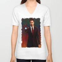 tony stark V-neck T-shirts featuring Art Of Tony Stark Iron Man by Andrian Kembara