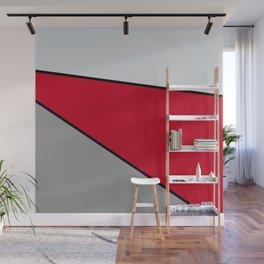 Diagonal Color Blocks in Red and Grays Wall Mural