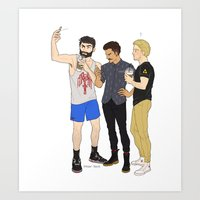 starbucks Art Prints featuring Starbucks Selfie by Plebnut