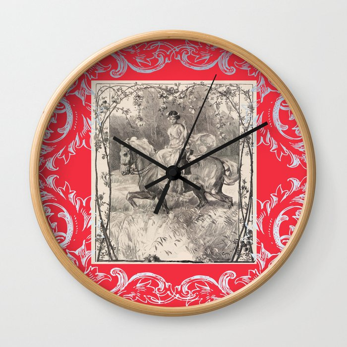 LADY IN RED RIDING A HORSE Wall Clock