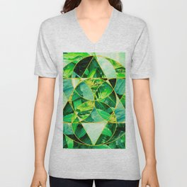 Hawaiian Jungle Abstract Mosaic Unisex V-Neck