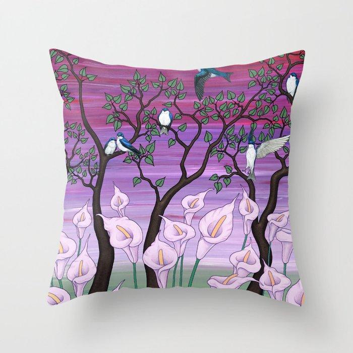 calla lilies & tree swallows Throw Pillow