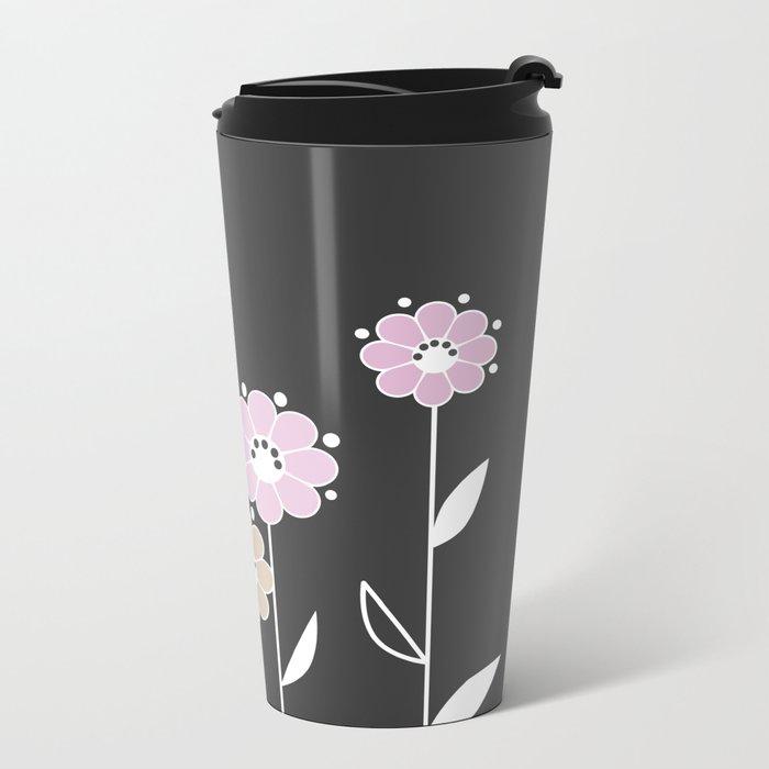 Floral applique . Retro . Metal Travel Mug