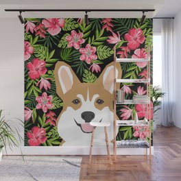 Corgi Hawaiian Tropical Flowers Print Summer palm print tropical hibiscus design Wall Mural