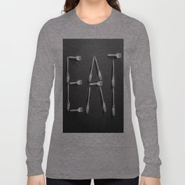 EAT alphabet with plastic forks in black and white Long Sleeve T-shirt