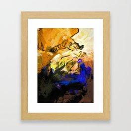 Rose White Cobalt Blue Framed Art Print