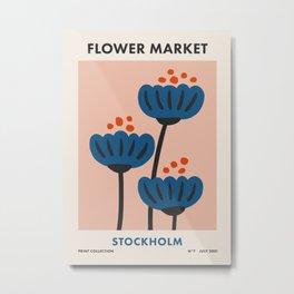 Flower Market Stockholm, Blue Playful Fowers Metal Print