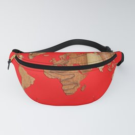 Wood bark - Red - Organic World Map Series Fanny Pack